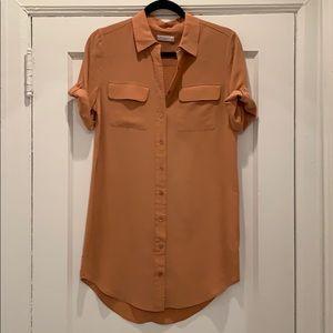 Equipment Short sleeve Silk T-Shirt Dress